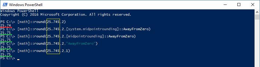Ejemplos de uso del tipo de redondeo Away from zero